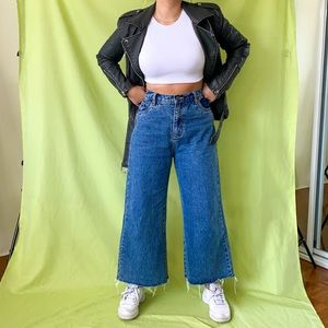 BARNEY COOLS BLUE HIGH WAISTED WIDE LEG JEANS